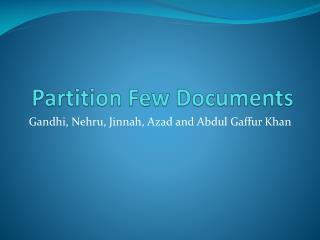 Partition Few Documents