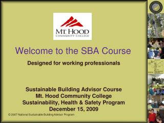 Welcome to the SBA Course