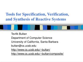 Tools for Specification, Verification, and Synthesis of Reactive Systems
