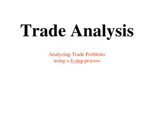 Trade Analysis  Analyzing Trade Problems  using a 4-step process