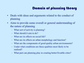 Domain of planning theory