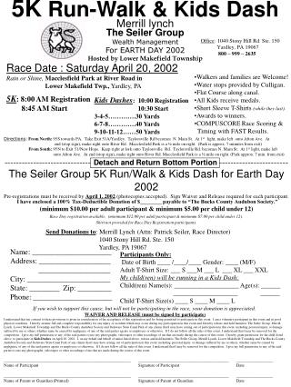Merrill lynch The Seiler Group Wealth Management For EARTH DAY 2002 Hosted by Lower Makefield Township