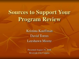 Sources to Support Your Program Review