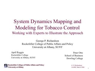 System Dynamics Mapping and Modeling for Tobacco Control Working with Experts to Illustrate the Approach