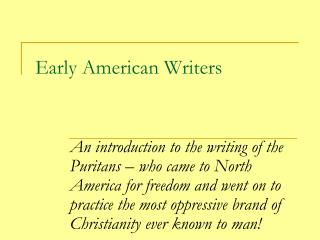Early American Writers