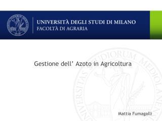 Gestione dell  Azoto in Agricoltura