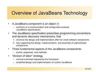 Overview of JavaBeans Technology