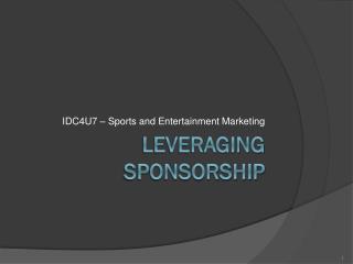 LEVERAGING Sponsorship
