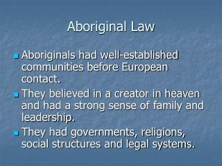 Aboriginal Law