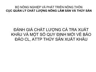 NH GI  CHT LUNG C  TRA XUT KHU V  MT S QUY  NH MI V BO  O CL, ATTP THY SN XUT KHU