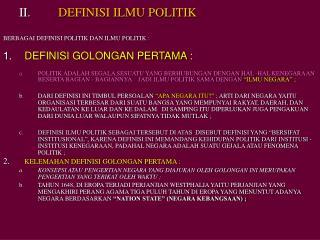 DEFINISI ILMU POLITIK