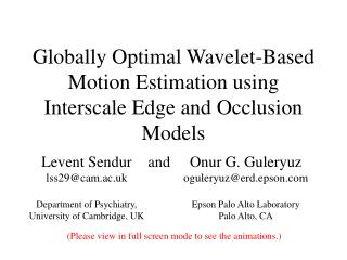 Globally Optimal Wavelet-Based Motion Estimation using Interscale Edge and Occlusion Models