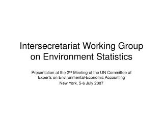 Intersecretariat Working Group on Environment Statistics