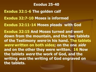 Exodus 25-40