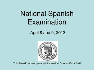 National Spanish Examination