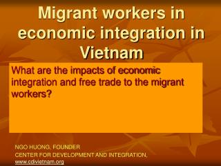 Migrant workers in economic integration in Vietnam