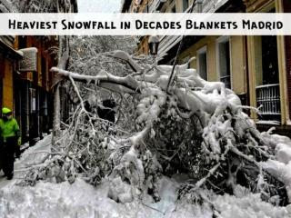 Heaviest snowfall in decades blankets Madrid