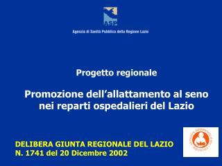 Progetto regionale   Promozione dell allattamento al seno nei reparti ospedalieri del Lazio