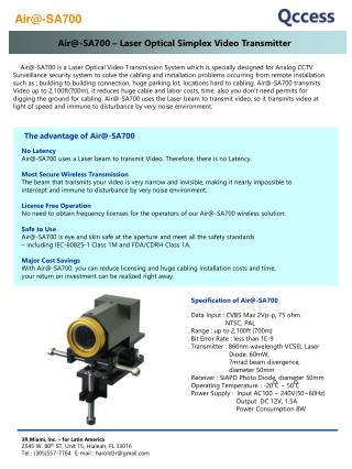 Air-SA700   Laser Optical Simplex Video Transmitter