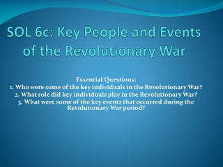 Important People and Events in the American Revolution