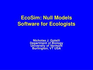 EcoSim: Null Models  Software for Ecologists