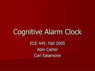 Cognitive Alarm Clock
