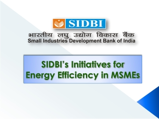 SIDBI s INTIATIVES IN PROMOTING  FINANCING ENERGY EFFICIENCY  IN INDIAN MSMEs