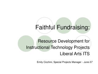 Faithful Fundraising: