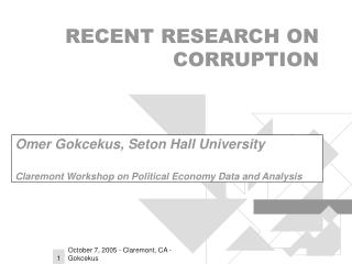 RECENT RESEARCH ON CORRUPTION