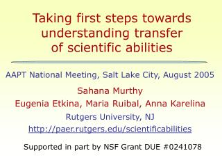Taking first steps towards understanding transfer  of scientific abilities
