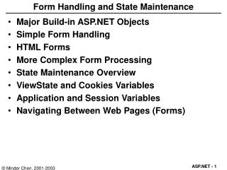 Form Handling and State Maintenance