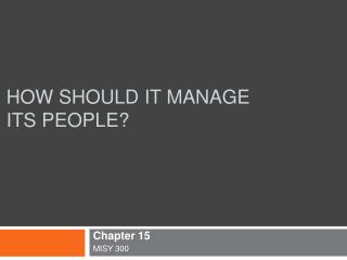 How Should IT Manage its people
