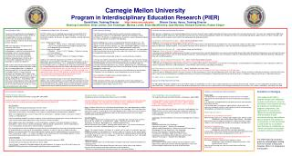 Carnegie Mellon University Program in Interdisciplinary Education Research PIER David Klahr, Training Director        cm