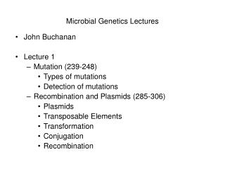 Microbial Genetics Lectures