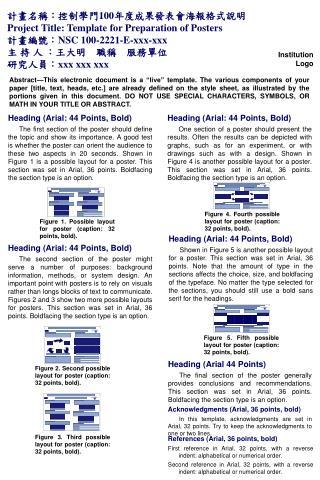 :100 Project Title: Template for Preparation of Posters :NSC 100-2221-E-xxx-xxx    :   :xxx xxx xxx