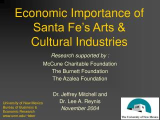 Economic Importance of  Santa Fe s Arts  Cultural Industries