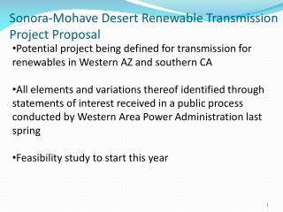 Sonora-Mohave Desert Renewable Transmission  Project Proposal