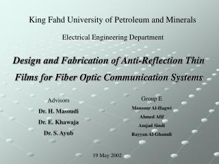 Design and Fabrication of Anti-Reflection Thin   Films for Fiber Optic Communication Systems