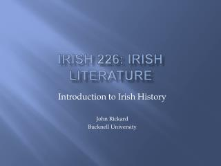 Irish 226: Irish Literature