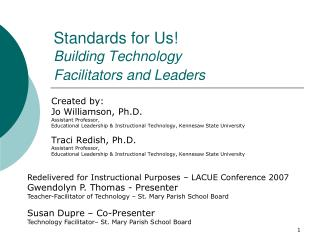 Standards for Us  Building Technology  Facilitators and Leaders