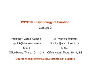 PSYC18 - Psychology of Emotion Lecture 3