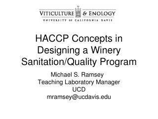 HACCP Concepts in Designing a Winery Sanitation