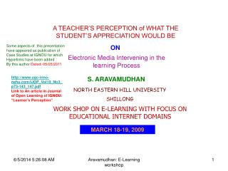 Aravamudhan: E-Learning workshop