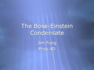 The Bose-Einstein Condensate