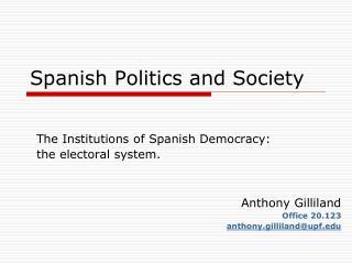Spanish Politics and Society