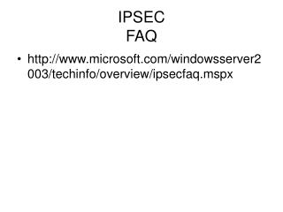 IPSEC FAQ