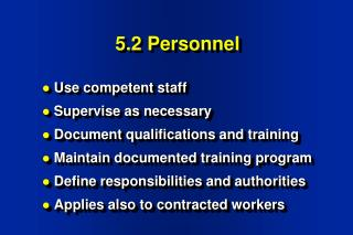 5.2 Personnel