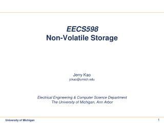 EECS598 Non-Volatile Storage