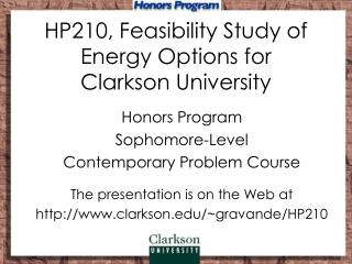 HP210, Feasibility Study of Energy Options for  Clarkson University