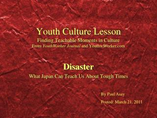 Youth Culture Lesson Finding Teachable Moments in Culture From YouthWorker Journal and YouthwWorker